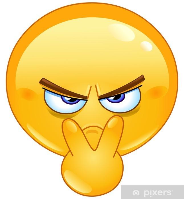 Naklejka Pixerstick Wskazując na jego oczach emotikon - Gniew