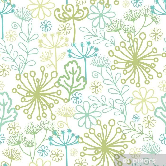 Vinyl Fotobehang Vector Mysterieuze groene tuin naadloze patroon achtergrond met - Texturen