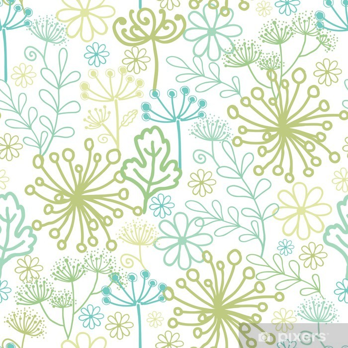 Naklejka Pixerstick Vector Tajemniczy ogród zielony bezszwowe tło wzór z - Tekstury