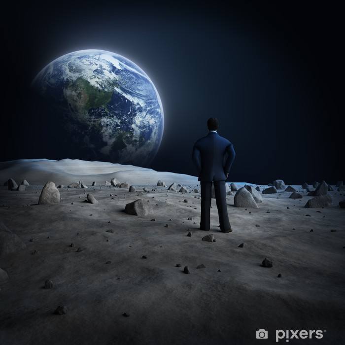 Pixerstick Aufkleber Erde Mond Alien - Weltall