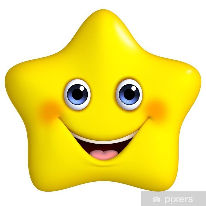 Plakat 3d cartoon żółte gwiazdki - Przestrzeń kosmiczna