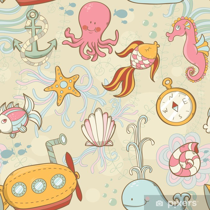 Poster Créatures sous-marines de modèle mignon transparente de dessin animé - Océanie