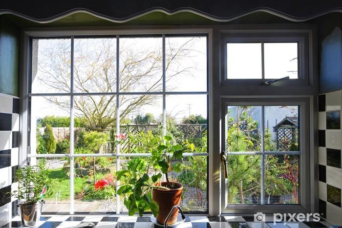 Carta da Parati in Vinile Finestra della cucina con la vista sul giardino - Spazio da decorare