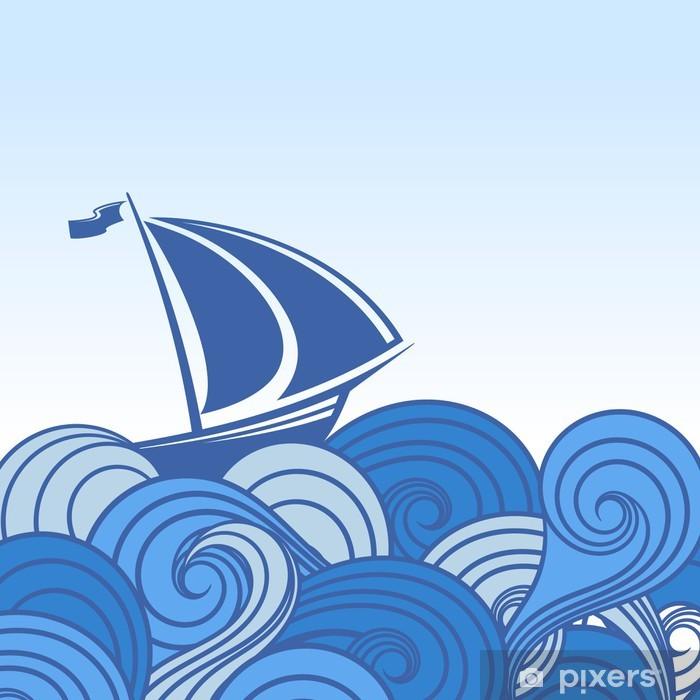 Naklejka Pixerstick Statek w oceanie. abstrakcyjne tło. - Zwierzęta żyjące pod wodą