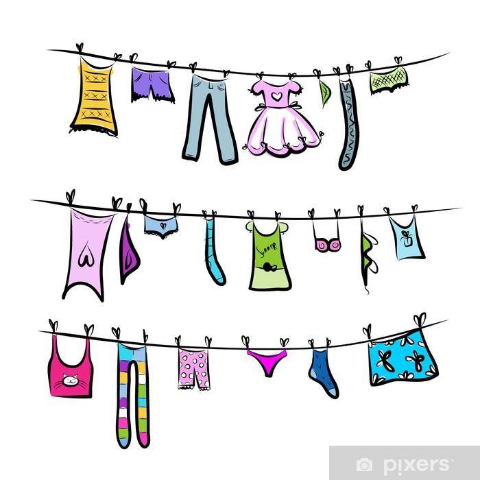 Naklejka Pixerstick Ubrania na clothesline. Szkic do projektowania - Moda