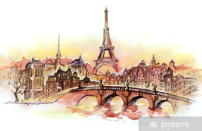 Naklejka Pixerstick Zachód słońca w Paryżu - Naklejki na ścianę