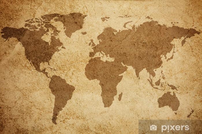 Pixerstick Sticker Wereldkaart textuur achtergrond - Thema's