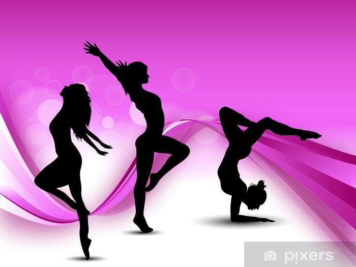 Illustration of rhythmic gymnastic girls on pink wave background Vinyl Wall Mural - Backgrounds