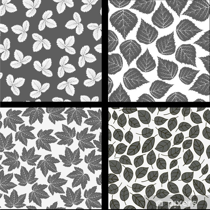 Fototapete Leafs Muster Schwarz Weiß Nahtlose Wallpaper Pixers
