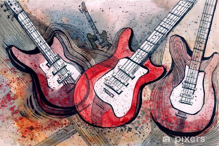 Papier peint vinyle La musique pour guitare -