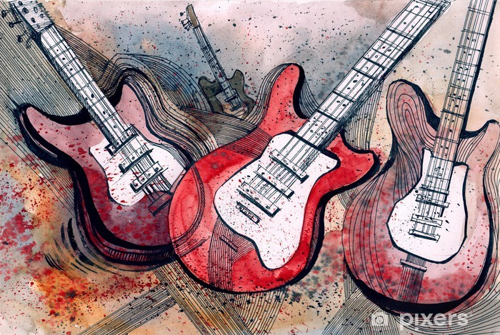 guitar music Pixerstick Sticker -
