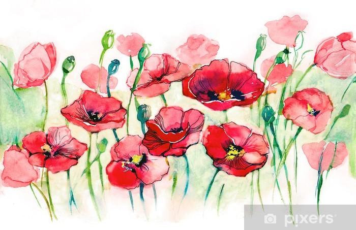 Fototapeta winylowa Maki poziome - Kwiaty