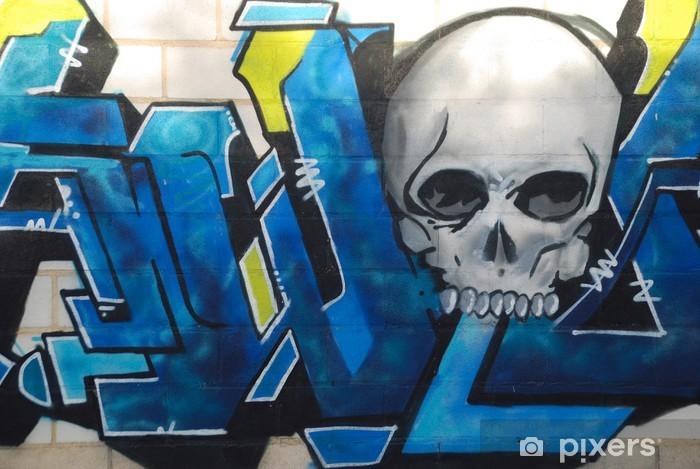 GRAFFITI ABSTRACTO DE COLORES CON LETRAS ARTÍSTICAS AZULES Washable Wall Mural - Themes