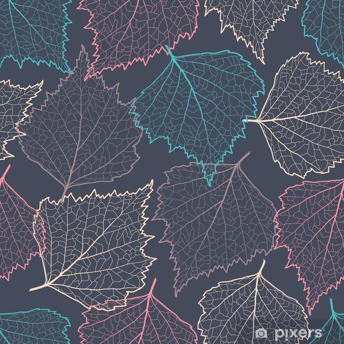 Plakat Kolorowe sylwetki liści bez szwu - Tła