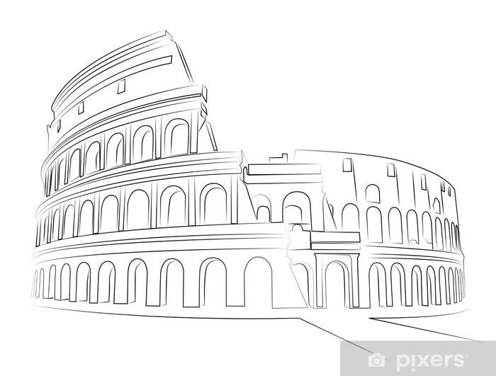 Vinilo Pixerstick Coliseo De Roma Dibujo Vectorial Pixers