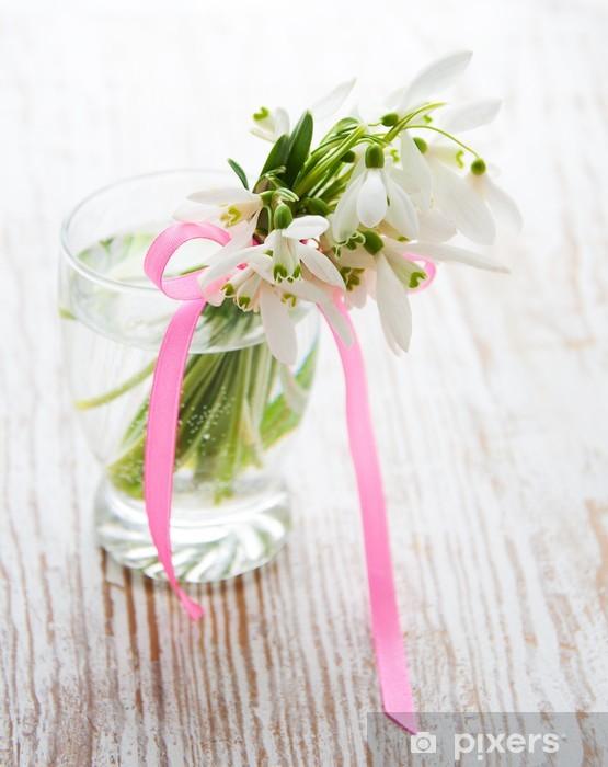 Vinyl-Fototapete Bouquet von Schneeglöckchen Blüten - Jahreszeiten