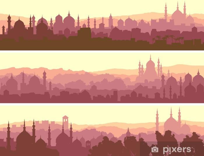 Vinyl Fotobehang Horizontale banners van de grote Arabische stad bij zonsondergang. - Stedelijk
