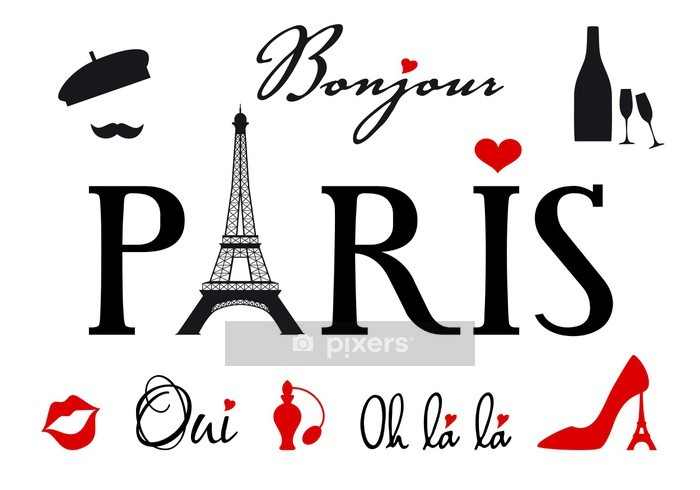 Paris with Eiffel tower, vector set Wall Decal - Holidays
