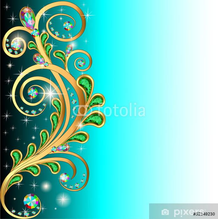 Pixerstick Sticker Achtergrond met edelstenen en gouden ornamenten bladeren - Achtergrond