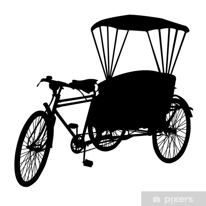 Carta Da Parati In Vinile Tre Ruote Di Taxi Bicicletta Silhouette Vector