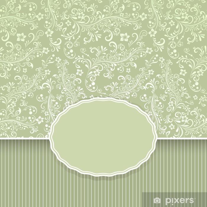 Poster Arrière-plan transparent vintage floral vert foncé - Arrière plans