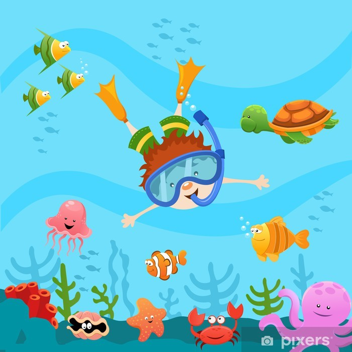 Diving Kid Pixerstick Sticker - Themes