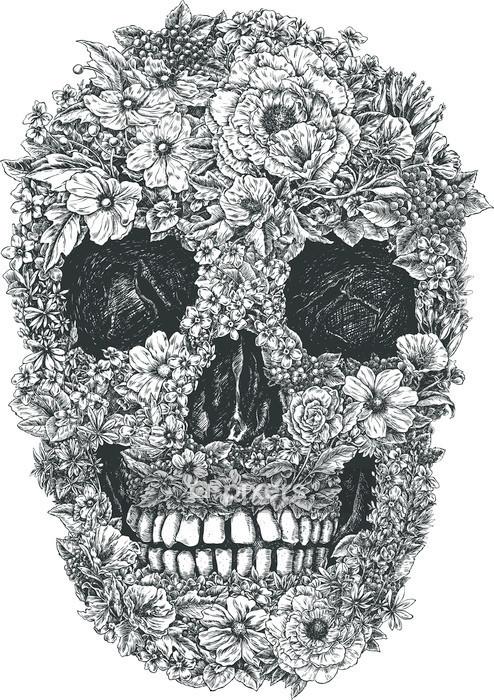 Muursticker Flower Skull Vector - Levensstijl