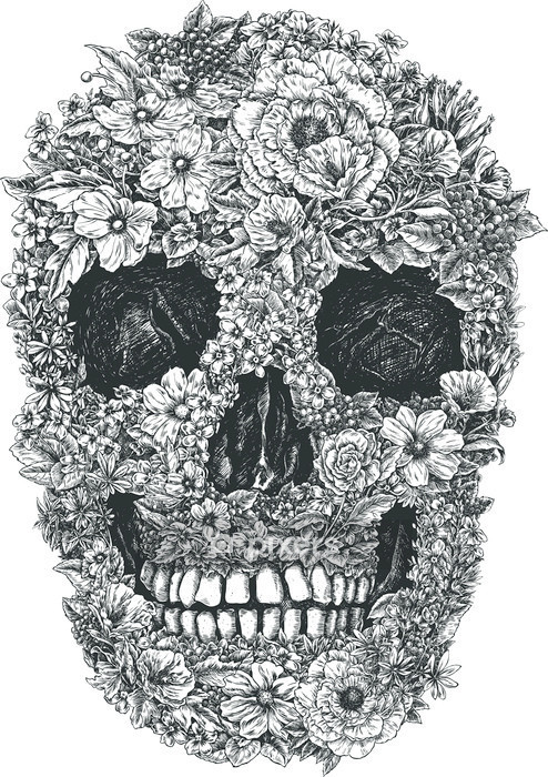 Flower Skull Vector Wall Decal - Lifestyle