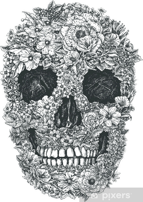 Fotomural Estándar Flor Vector Skull - Estilo de vida