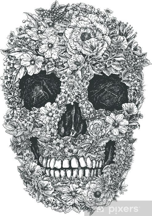 Naklejka Pixerstick Czaszki wektorowych kwiaty - Styl życia