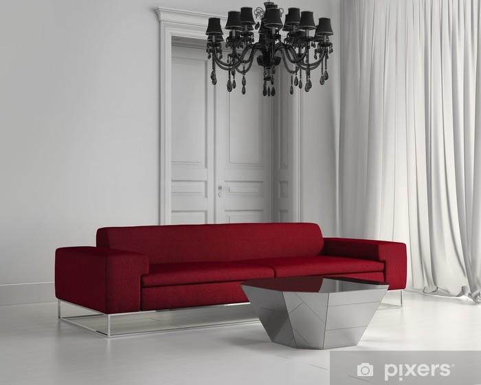 Papier peint Blanc salon classique, contemporain, canapé, sol en bois rouge