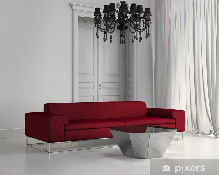 White contemporary classic living room, red sofa, wood floor Wall Mural -  Vinyl