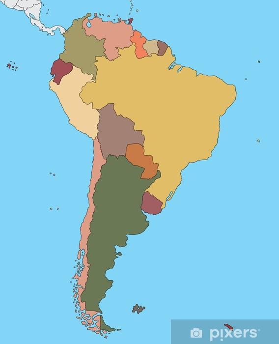 Fototapeta winylowa Kolorowa mapa Ameryki Południowej - Ameryka