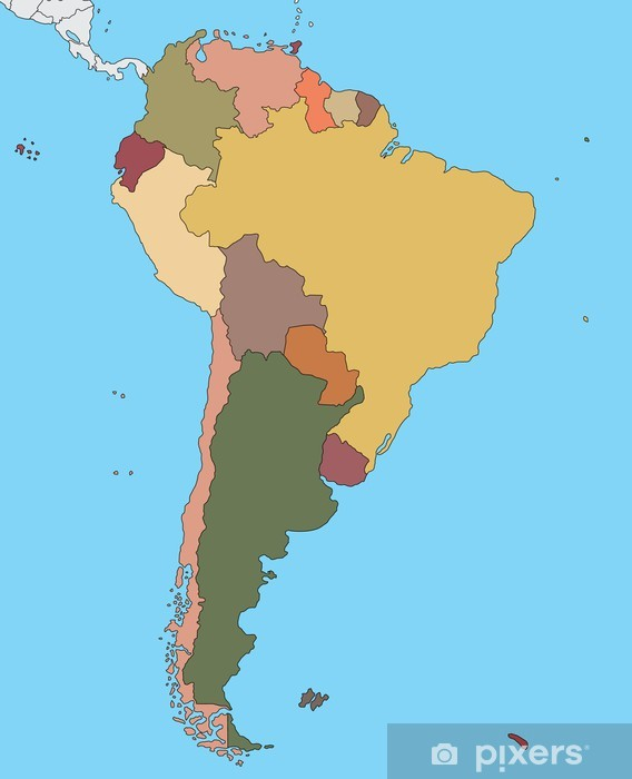 Papier peint vinyle Carte colorée de l'Amérique du Sud - Amérique