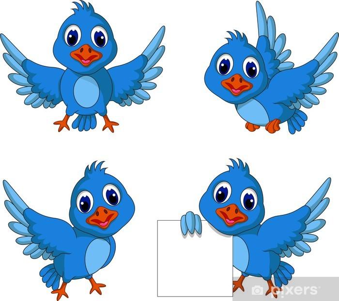 cute blue bird cartoon collection Wall Mural • Pixers ...