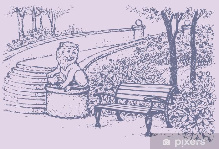 Papier peint vinyle Vecteur parc paysage. Banc à côté des statues de lion près de l'escalier - Bâtiments publics
