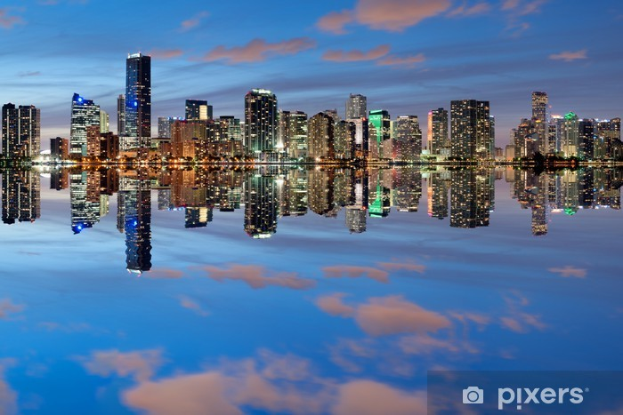 Sticker Pixerstick Miami Skyline au crépuscule avec de grandes réflexions - Amérique
