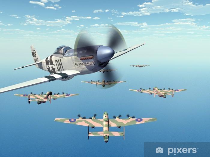 Nálepka Pixerstick Stíhací bombardér P-51 a těžký bombardér Halifax - Témata