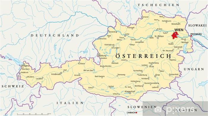 Landkarte Deutsch.Osterreich Landkarte Deutsch Wall Mural Vinyl