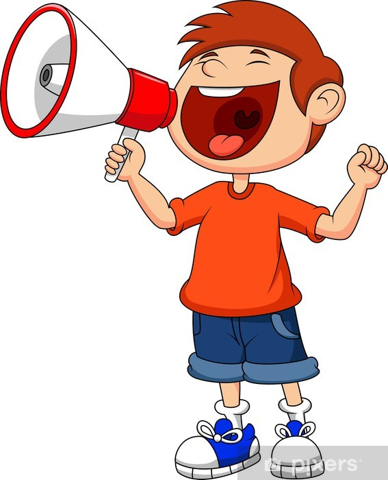 Cartoon boy yelling and shouting into a megaphone Vinyl Wall Mural - Children