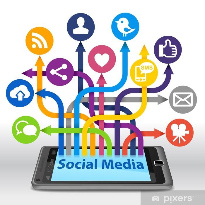 Fototapet Sosialt nettverk bakgrunn med media ikoner
