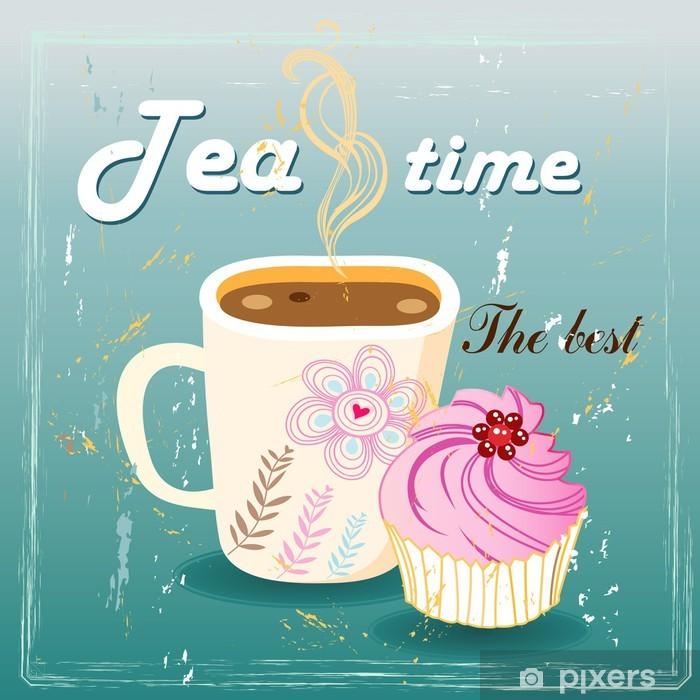 Papier peint vinyle Délicieux thé et du gâteau - Repas