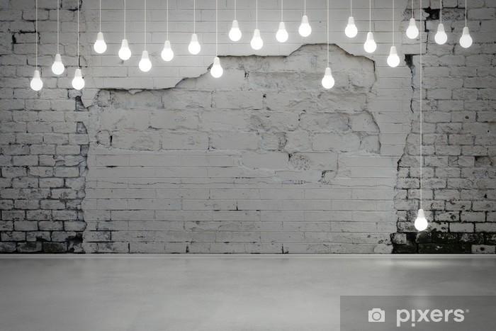 Vinilo Pixerstick Pared de ladrillo viejo y bombillas - Estilos