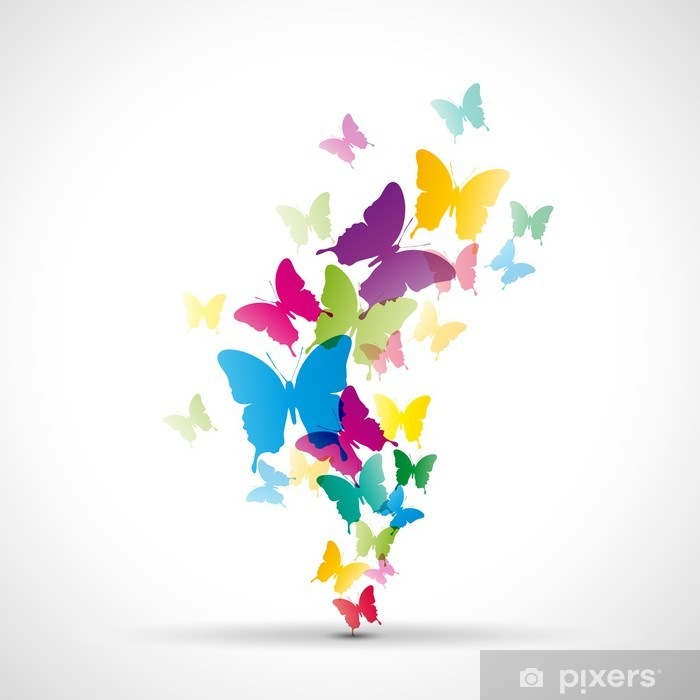 Abstract butterflies background # Vector Vinyl Wall Mural - Themes