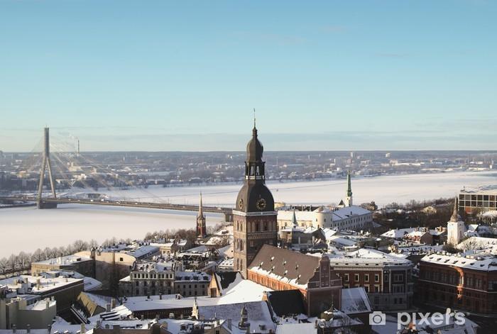 Fototapeta winylowa Old Riga w zimie z góry - Europa