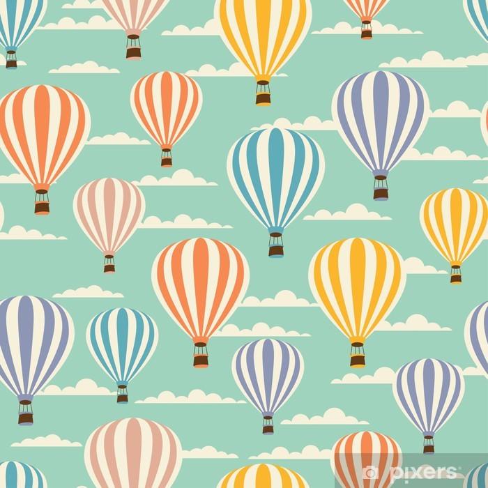 Papier peint vinyle Rétro motif de voyage transparente des ballons. - Dans les airs