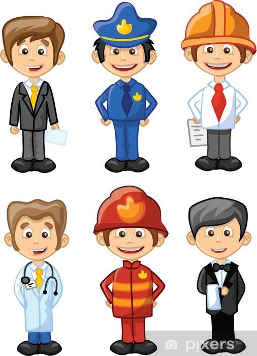 Pixerstick Sticker Vector illustratie van mensen van verschillende beroepen - Mensen op de Werkvloer