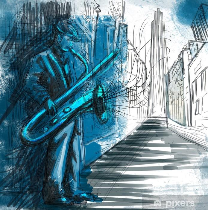 Papier peint vinyle Saxophoniste (plein dessin à la main de taille - original) - Jazz