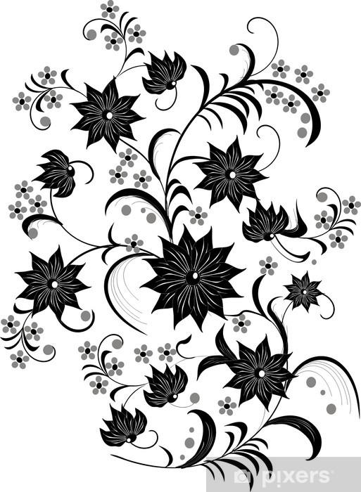 0877ed5a89 Adesivo Decorazione floreale in bianco e nero • Pixers® - Viviamo ...