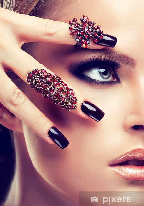 Model with burgundy manicure and fashion rings Pixerstick Sticker - Themes